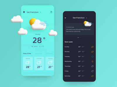 Weather forecast interface 🌤 concept weather forecast forecast colorful mobile ui rain sun weather animation illustration dark theme dark ui ui concept mobile app design ios design app