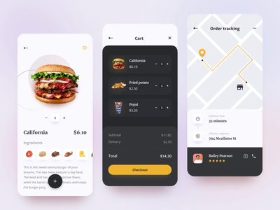 Delivery App food app ios food and drink burger clean mobile animation order track location cart delivery food design dark theme app