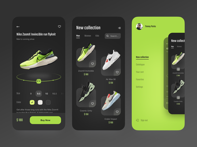 E-commerce App UI ui concept run air sport green shoes store shop ecommerce e-commerce nike mobile dark theme ios app