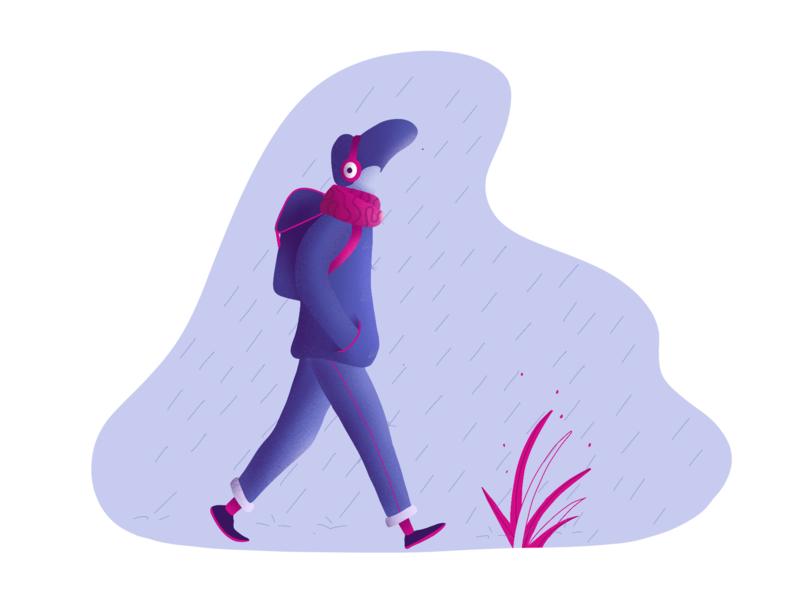 Rain blue walk illustration rain