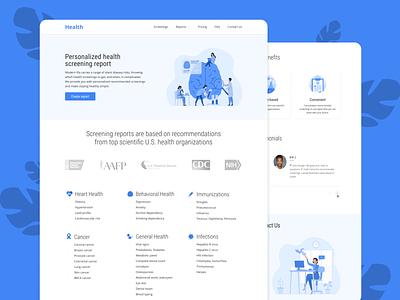 Medical diagnostics recommendations service. health blue design ui medicine