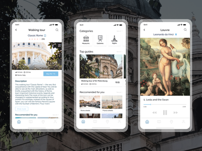 Travel audio guide app world museum architecture travel ui