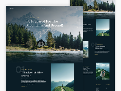 Landing page for hiking enthusiasts mountains travel hiking ui design