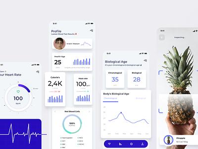 Virtual Health | App ui design care healthcare blue pineapple app virtual health