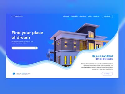 Real Estate Landing page illustration aestetic ux designui estate buy rent home house blue landing page landing real estate