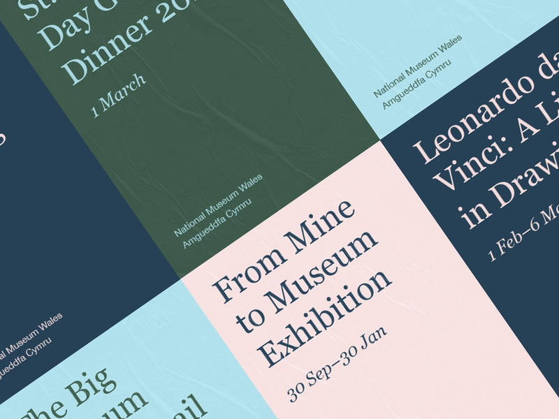 National Museum Wales poster editorial print art direction graphic design colour typography branding