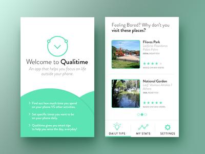 Qualitime Mobile App Proposal mvp logo iconography app ux ui mobile