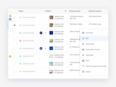 Dashboard Screen management deliveries delivery ui dashboard
