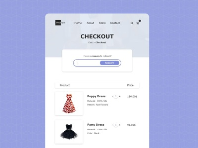 Daily UI Challenge Day #61 - Redeem Coupon design web design clean ux ui dailyui