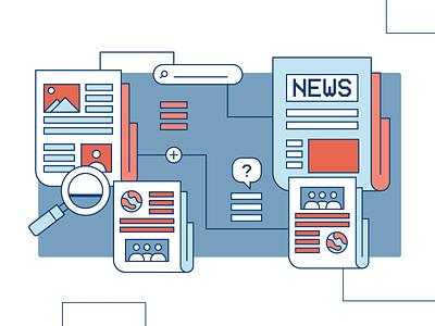 Spot Fake News fact checking searching newspaper news vector illustration fake news