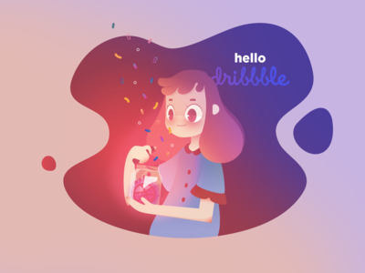 Hello Dribbble livingcoral firstshot jar magic girl hellodribbble hello vector debut debutshot illustration