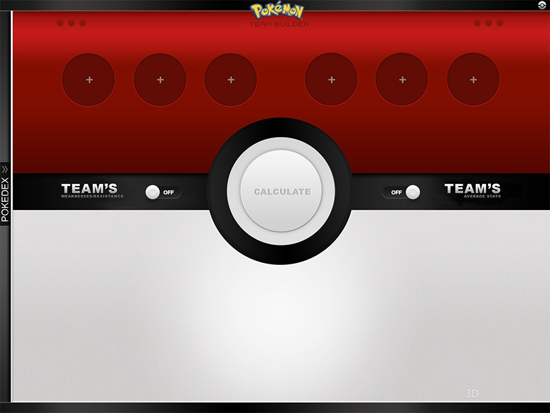 Pokemon Team Builder pokemon team builder tablet application pokeball design pokedex navigation buttons shiny red ux ui