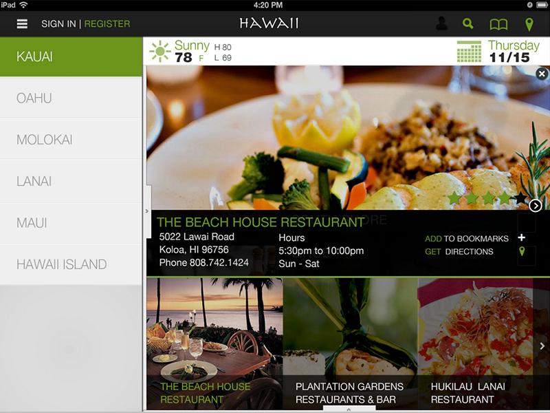 Hawaii Islands Application hawaii travel tablet application ipad food app green white black