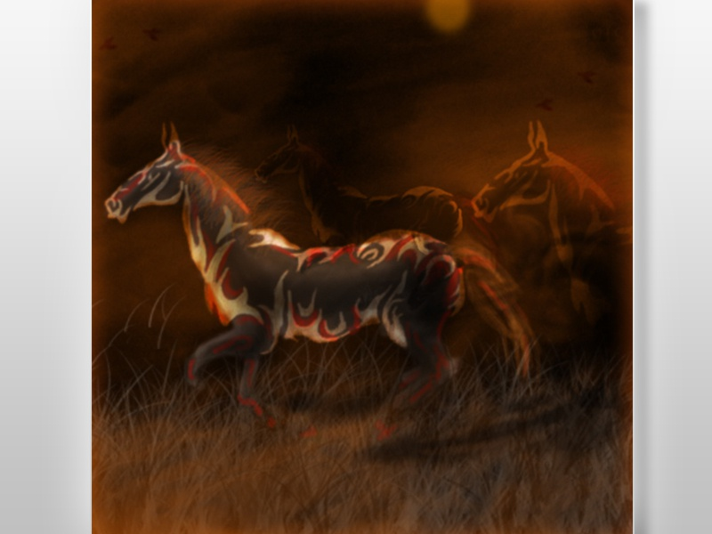"""Tribe of Horses"" (Tribal horses) tribe of horses tribal horse animals digital painting night earth tone grass"