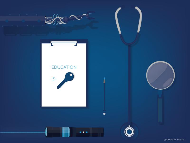 """Education Is Key"" Illustration blue neon cyan laser magnifying glass robot arm education key pencil stethoscope clipboard illustration"
