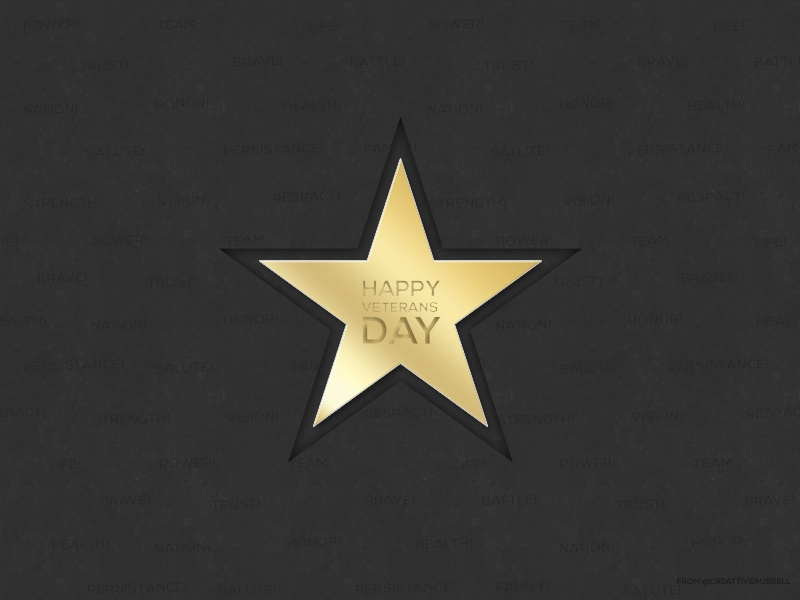 Happy Veterans Day! salute service golden star gold veterans
