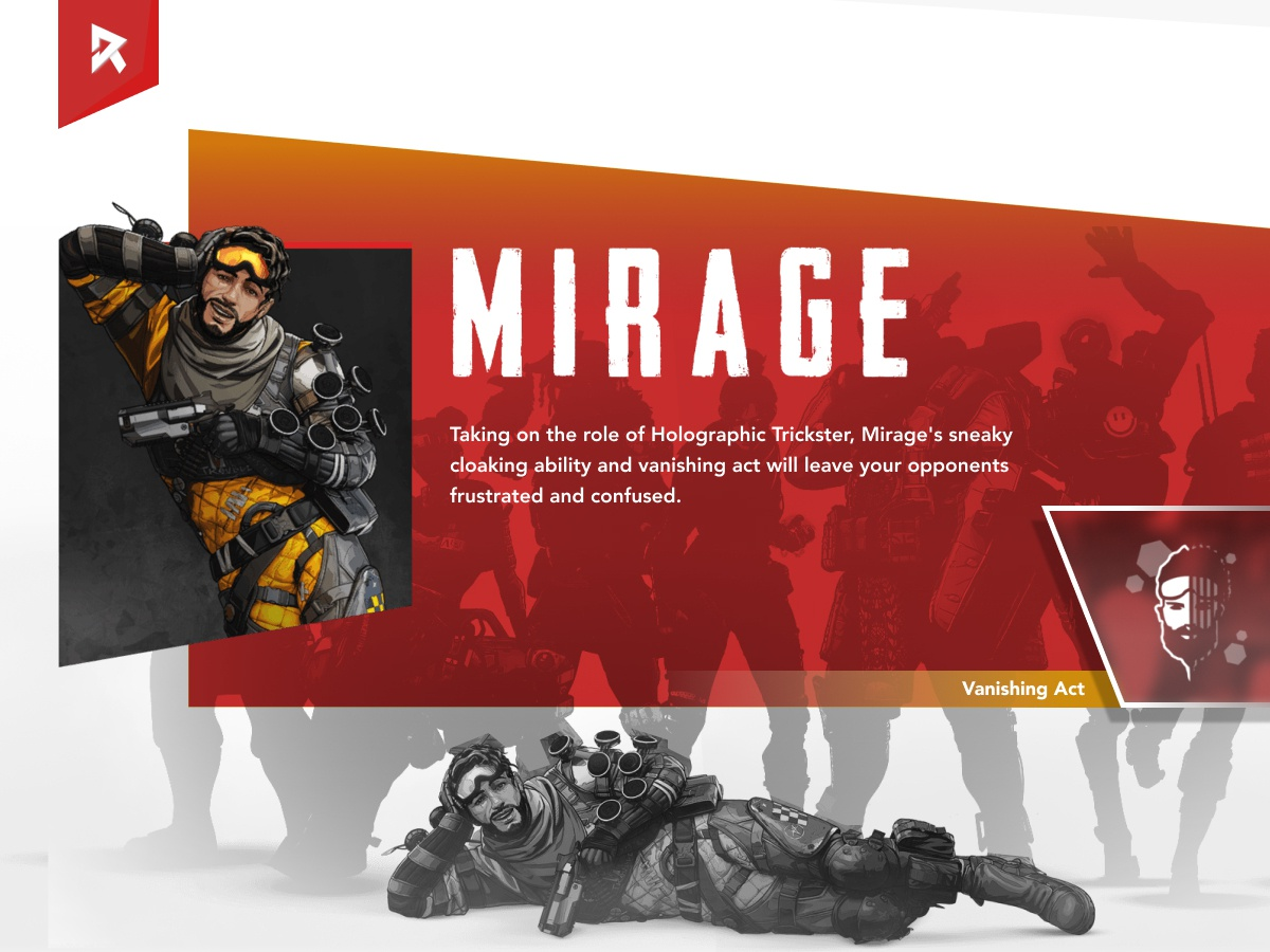 Apex Legends - Mirage Bio (Concept UI) game concept concept ui concept art trickster white and red tracer mirage biography bio page character bio game interface aaa ui game game ui apex legends
