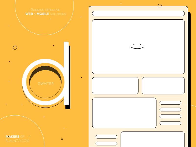 Meet Dwaiter! new york rochester webflow wire-frame typogaphy letter art line art orange graphic  design illustraion flauntly software design app  design web  design design agency dwaiter