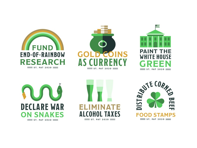 St. Patrick's Campaign Platforms tax snakes snake saint rainbow presidential president pot of luck icons icon gold food stamps day campaign alcohol