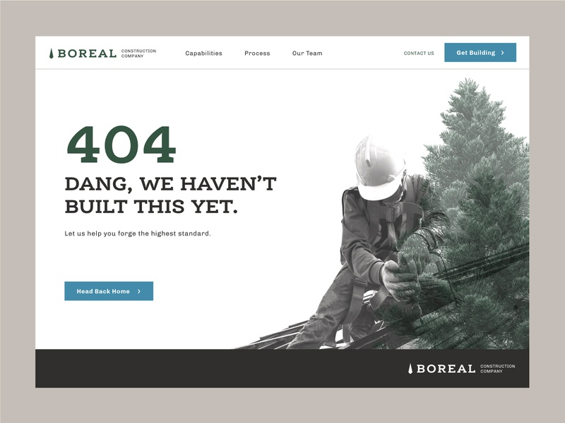 Boreal Construction 404 Page ui branding building ux webpage website construct forage build minnesotan minnesota northern north construction 404 error page 404 error 404 page 404