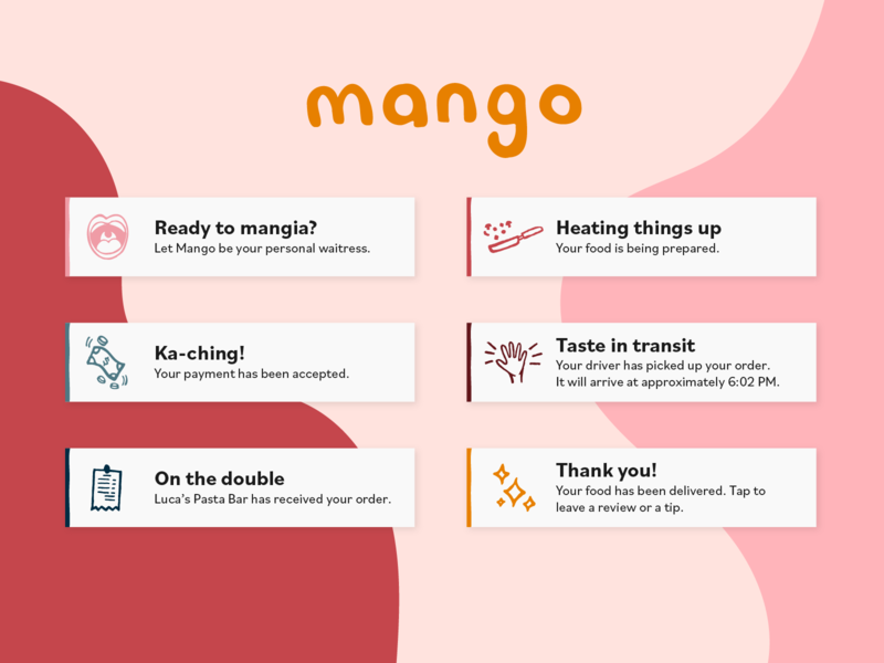 Mango eat mangia mango takeout order command alexa siri voice delivery food notifications flash flash messages flash message dailyui