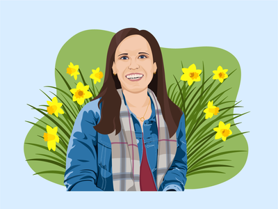 Daffodils Self Portrait digital illustrator vector art vector illustration flat illustration portrait woman girl jean jacket scarf flowerbed flowers daffodil toon me digital illustration self portrait
