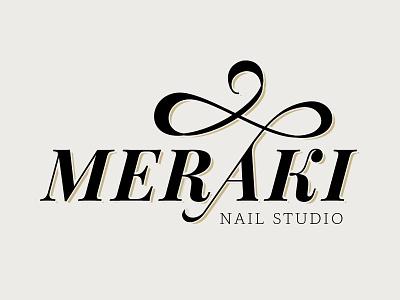 Meraki Nail Studio flourish elegant serif logotype logo wordmark modified type nails meraki