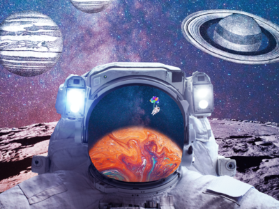 We Have Liftoff collage manipulation balloons galaxy landing moon planets space science nasa photoshop photo astronaut