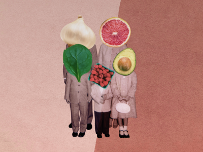 Sunday Dinner collage photo family eat meal grapefruit raspberries onion spinach avocado head photoshop portrait food italian