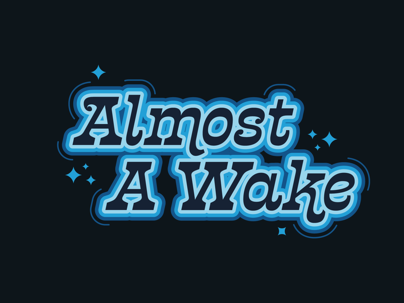 Almost a Wake wordmark waves wave wake vector sparkle tired sleepy ripple minnesota logo lake lakes decal boat awake almost