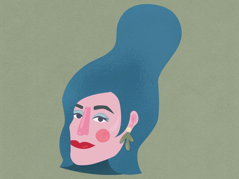 Broad cartoon hair illustration drawing girl woman lady portrait doodle