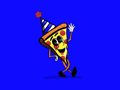 Pizza Party food character anthropomorphic party pizza illustration women who draw shaketember