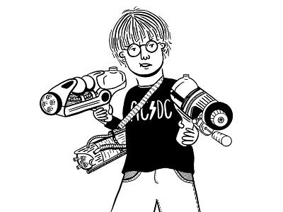 Water Pistol kid water gun shaketember minimal illustration