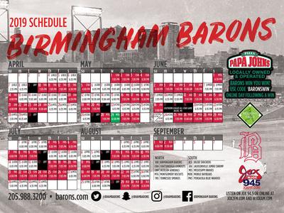 2019 Birmingham Barons Magnet Schedule