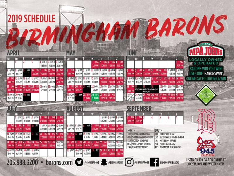 2019 Birmingham Barons Magnet Schedule team sports sponsor calendar schedule baseball magnet