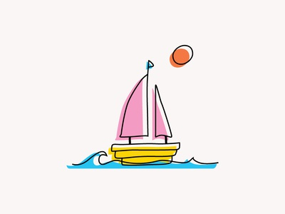 Sailboat offset freehand minimal boat water design vector illustration icon line simple color sailboat