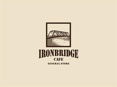 Iron Bridge Coffee bridge retro badge coffee