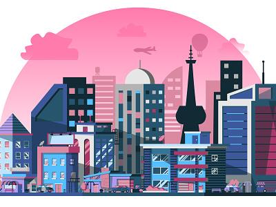 City Illustration illustration city hall skycraper building city builder city illustrator
