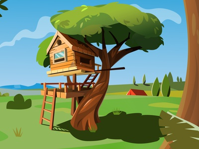 tree house playground treehouse illustration art illustration illustator