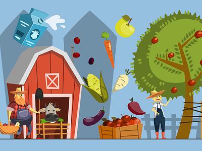 Farmers cartoon illustration cartoon character barn farmers farmer farmers market cute illustrator illustration