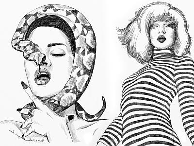 Fashion #27 rihanna artwork sketch drawing portrait illustration fashion