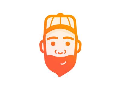 Mood illustration team page face baseball cap gradient