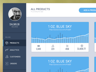 Selling blue app dashboard cards simple minimal stats web web app data analytics flat