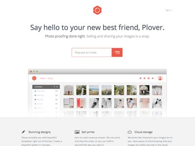 Plover Homepage homepage marketing minimal simple clean orange website web site site design splash page minimalist flat