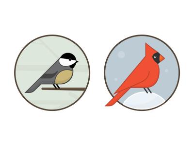 Bird Icons flat birds bird cardinal chickadee illustration icon