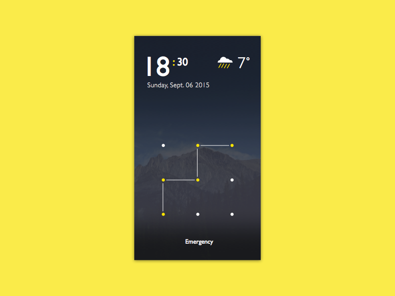 Android Lock Screen time date weather concept screen lock android
