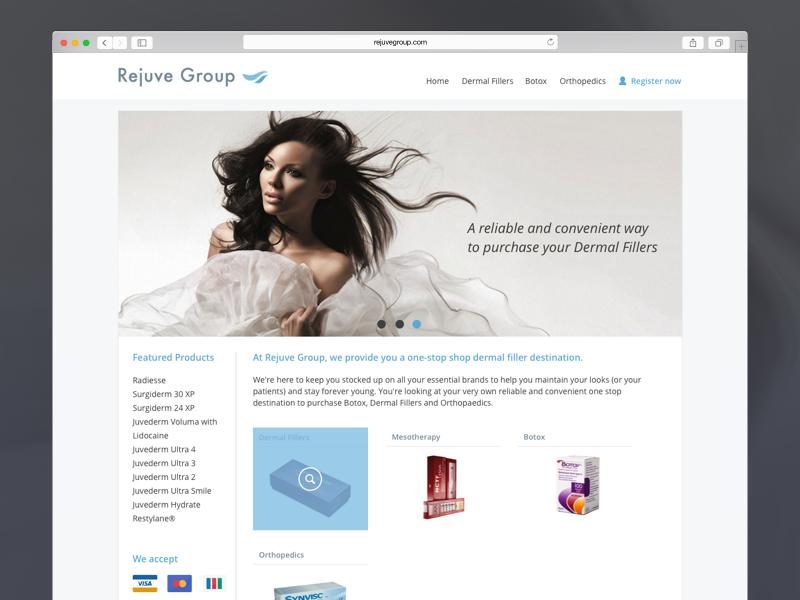Rejuvegroup.com user interface page front end ux ui web flat responsive web design