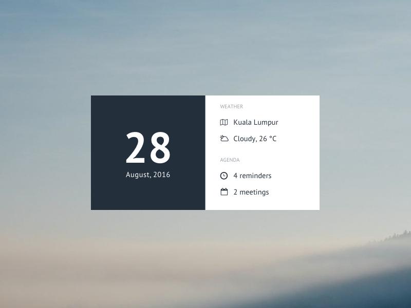 Morning Widget widget location weather calendar agenda morning