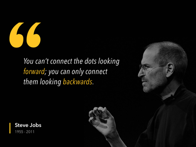 Quote - Steve Jobs backwards looking forward dots connecting jobs steve quote
