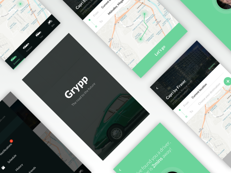Grypp - Transportation App grypp location ui clear simple app transportation mobile